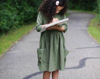 Moss linen dress | Green Dress | Linen dress | Linen toddler dress | Girls linen dress | Linen baby clothes | Girls green dress