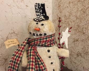 PRIMITIVE~CHARLIE~CHUBS~Large~Snowman~Stands!On~His~Own~Weighted~Covered~With~Glitter~Glass~i~Love~Snowdays~Handmade~Unique~