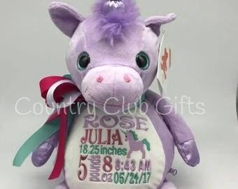 personalized baby gift, personalized plush, stuffed plush, Violette Purple Unicorn kids personalized stuffed keepsake, Embroider Buddy