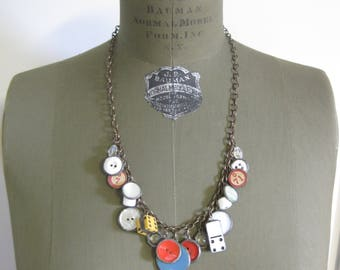 Button Charm Long Necklace One of a Kind Statement Jewelry
