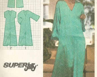 Vintage 70s Simplicity 9246 UNCUT Misses Super Jiffy Pullover Caftan Sewing Pattern - Size Small Bust 32.5-34