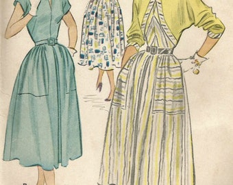 Vintage 50s McCalls 9440 UNCUT Misses MidCentury Bolero Full Skirt Dress with Large Pockets Sewing Pattern Size 18 Bust 36