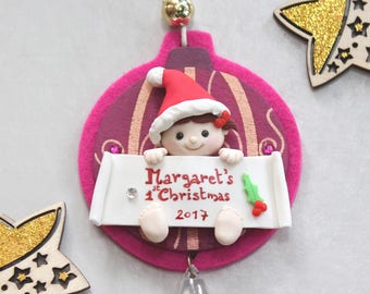 Personalized baby's first Christmas ornament or for kids - purple/fuchsia ornament - grandparents gift mum newborn kid's room decoration