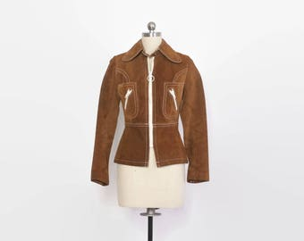 Vintage 60s Mod Leather Jacket / 1960s Golden Brown Suede Cropped Jacket with White Trim