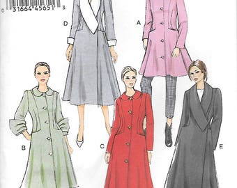 Vogue 9040 UNCUT Misses Coats with Shawl and Peter Pan Collar Variations Sewing Pattern Sizes 14 to 22 Cuffed Sleeves
