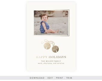 Gold Holiday Photo Card Template | Instant Download, Printable Template, Happy Holidays Photo Card, Holiday Photo Card, Gold Christmas Photo