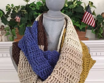 "crochet handmade yarn Infinity Cowl Scarf Soft cozy stylish comfy warm wide Caron Cakes Royal Icing multicolor 9""x 108"" new"