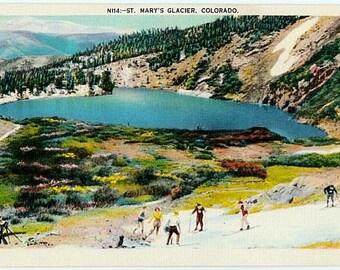 Vintage Colorado Postcard - Summer Skiing at St. Mary's Glacier (Unused)