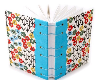 Colorful Flower Journal with Katazome Paper  - handmade by Ruth Bleakley