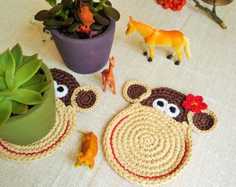 Crochet Monkey Coasters - Monkey Drink Coasters - Animal Coasters - Monkey Rug Mug - Wedding Gift - Gift for Couple -  Set of 2