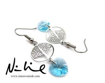 NEW Lightweight Tree of Life Swarovski Crystal Element Dangling Heart Earrings (ERSS142)