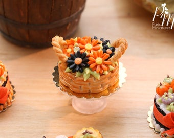 Halloween Basket Cake of Autumn Coloured Marguerites - 12th Scale Miniature Food