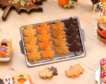 MTO- Leaf Cookies on Metal Baking Tray - Includes 4x Loose Cookies - 12th Scale Miniature Food