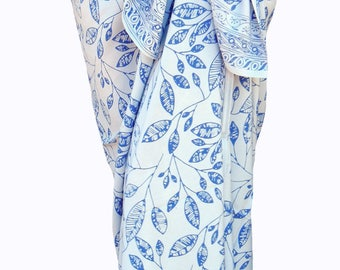 Beach Sarong Pareo Wrap Skirt - Batik Pareo Beach Wedding Dress Batik Sarong - White & Blue Beach Cover up - Hawaiian Maile Leaf Sarong