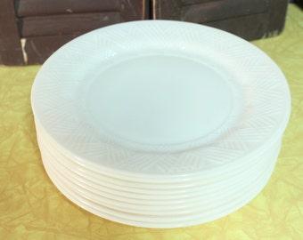 10 Beautiful Milk Glass Plates 9 inch Milkglass Plates Translucent Milk Glass Plates Criscross pattern