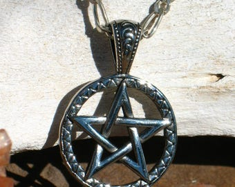 Large Titanium Pentacle on Large Link .925 Sterling Silver Figaro Chain~Protection~Witchcraft
