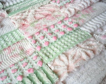 "Vintage Chenille Bedspread Squares in Pink and Mint Green w/Rosebud-24-6"" blocks"