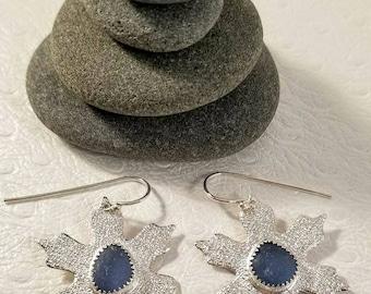 Nordic Cornflower Bonfire Sea Glass Silver Snowflake Dangle Earrings