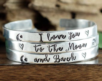 I love you to the Moon and Back Cuff Bracelets, Custom Cuff Bracelet, Personalized Bracelets, Mother Daughter Bracelet, Gift for Daughter