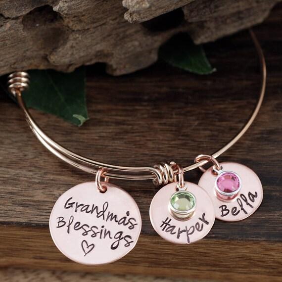 Grandma's Blessings, Grandma Bracelet, Custom Grandma Bangle Bracelet, Personalized Gift, Grandmother Charm Bracelet, Personalized Bracelet
