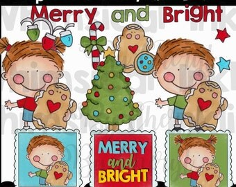 Dumplin Kids Merry and Bright Clipart Collection- Immediate Download