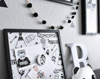 Magnet Board Frame, TeePee Decor, Magnetic Photo Board, Kids Bedroom, Wall Decor, Monochrome, Monochrome Nursery