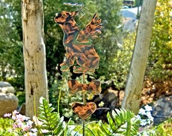 Boston Terrier Memorial Metal Garden Art Stake, Pet Grave Marker, Copper Garden Art, Metal Yard Art, Garden Sculpture, Outdoor Metal Art