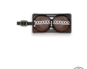 Luggage Tag Chocolate Cup Cake Retro Snack Cake Metal Luggage Tag With Custom Info On Back  Single Tag  Great Gift
