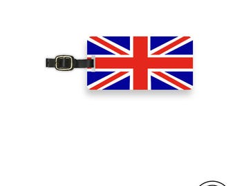 Luggage Tag  British  Union Jack Flag England Trip Metal Luggage Tag With Custom Info On Back, Single Tag