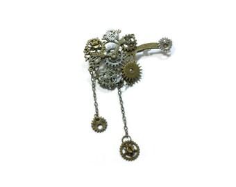 Steampunk Brooch ,  Pin Gear Brooch  ,  Cog Steampunk Pin , Victorian Steampunk Brooch