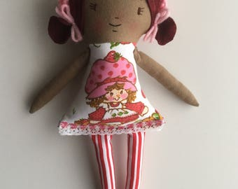 80s Rag Doll Cloth Doll Handmade Doll Vintage Fabric Strawberry Shortake
