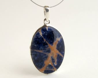 Sea Star Sodalite Pendant Sterling Silver With Natural Blue And Orange Sodalite Necklace Sodalite Jewelry