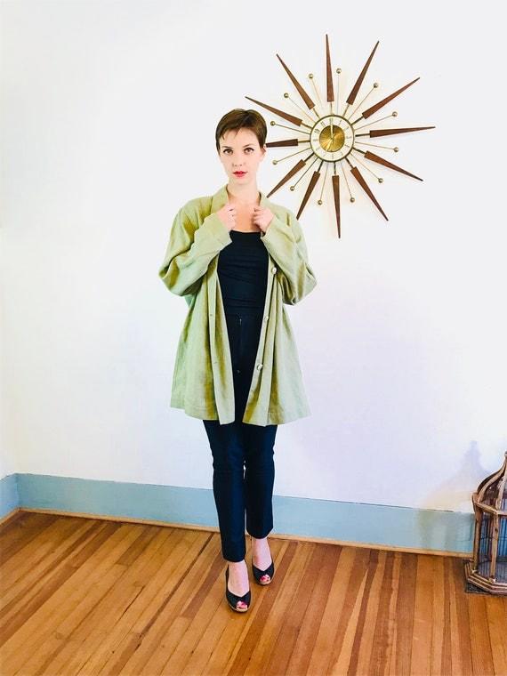 Minimalist jacket, Boxy linen blazer, vintage 90s blazer, sage green jacket, 1990s cotton blazer, womens 80s blazer, Oversized jacket, Sz XL