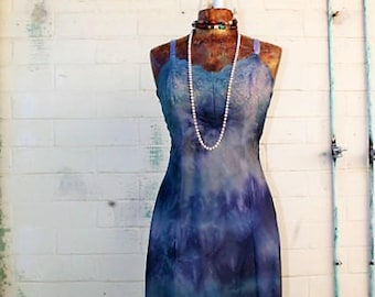 Tie Dye Slipdress/Small Romantic Fairy Dress/Fairy/Hippie Clothing/Hippie Dress/Fairy Dress/Moody Blues Sundress Dress/Vintage Slipdress