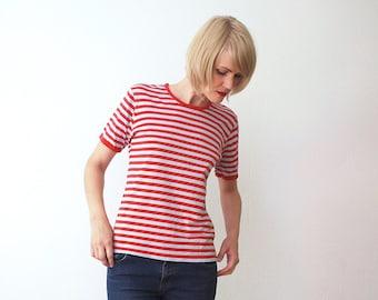 80s 90s MARIMEKKO stripe cotton top. stripe T shirt - small to medium