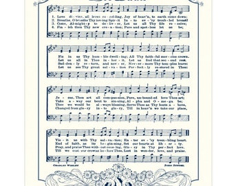 LOVE DIVINE All Loves Excelling - Christian Home & Office Decor Vintage Verses Sheet Music Hymn Wall Art Wedding Gift Anniversary Gift Sale