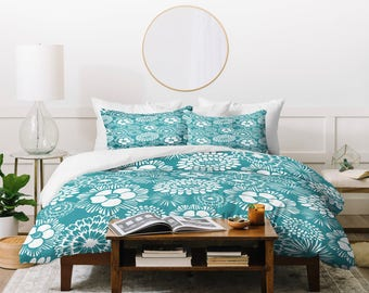 Modern Aqua Floral Duvet Cover // Bedding // Twin, Queen, King Sizes // Home Decor // Festibloom Design // Aqua // Floral Bedding // Flowers
