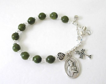 ST PATRICK/St Bridget  Irish Connemara Marble Single Decade Celtic Knot Rosary Bracelet-Irish bracelet