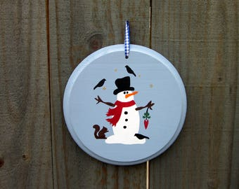 Snowman Sign, Holiday Decor, Snowman Wall Decor, Decorative Snowman, Outdoor Scene, Painted Wood, Round Sign, Christmas Door Hanger