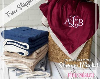 Monogrammed Sherpa Throw Blanket | Personalized Throw | Wedding Gift | Couples Gift |  Christmas Gift | Home Decor