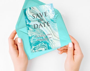 beach wedding save the date - printable card marble effect, summer tropical destination sea , turquoise or customised - swept away design