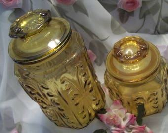 MINT Beautiful Imperial Scroll Two Piece Amber Glass Canister Set  - Vintage - Kitchen Decor - Storage - Apothecary Jars