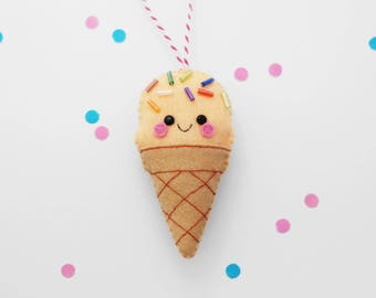 Peach Ice Cream Felt Ornament, Hanging Decoration, Rainbow Sprinkles