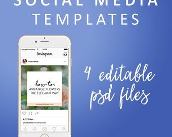 4 Social Media Templates - Instagram PSD Templates, Editable Layered Photoshop Graphics, Social Media Graphics, Instagram Marketing