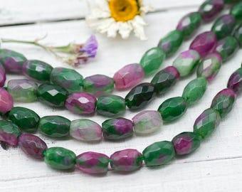 Oval Glass Beads, 1 Strand, 10x8mm, Green   Beads, 1mm Bead Hole -B302