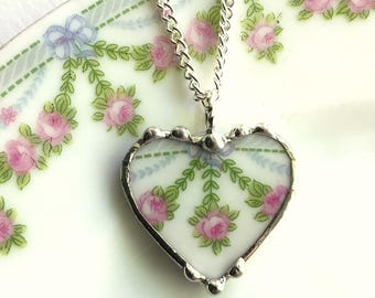 Beautiful - recycled china - French pink rose garland - porcelain broken china jewelry - heart pendant - broken china