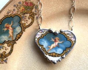 Broken china jewelry, broken china necklace - antique Cupid Cherub heart, made from a broken plate, 100 yr old china, sterling silver chain