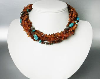 Vintage Amber and Turquoise Necklace Twisted Choker Multi Strand Gemstone Necklace Peyote Bird
