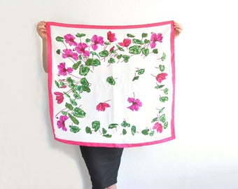 Christian Dior fuchsia pink flower scarf . garden azalea ivy leaf printed neck tie