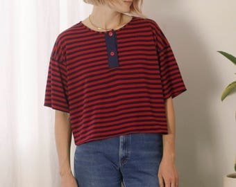 Cropped Stripe Tee M